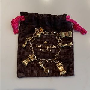 Kate Spade gold bow charm bracelet